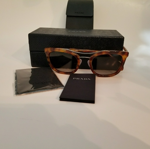 93c4137ea71a PRADA Sunglasses Light Tortoise Frame Brown Lens